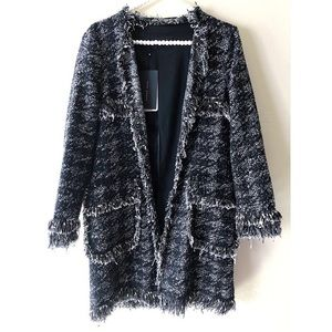 ZARA Houndstooth Frayed Tweed Jacket NWT | Sz S